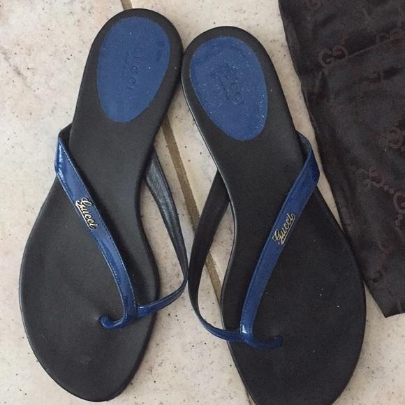 f0d66eaa1 Gucci Shoes - Gucci blue flip flops thongs slides